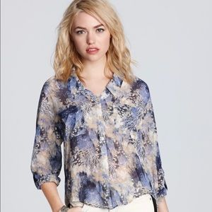 FREE PEOPLE Feather Print Sheer High Low Blouse M